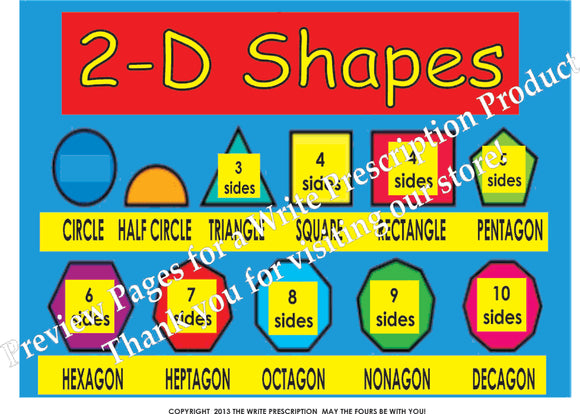 2D Shapes Math Poster