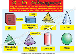 3D Shapes Math Poster