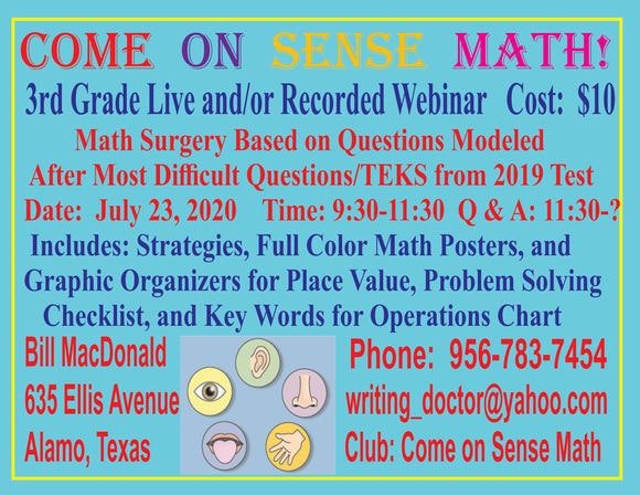 3rd Grade Mathematics Surgery  Recorded Webinar Modeled After Most Difficult Questions from 2019 Test