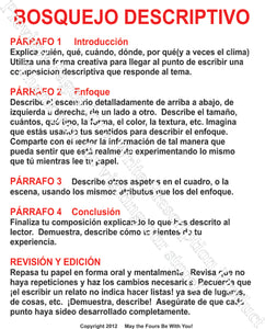 Bosquejo de Descriptivo Spanish Writing Poster