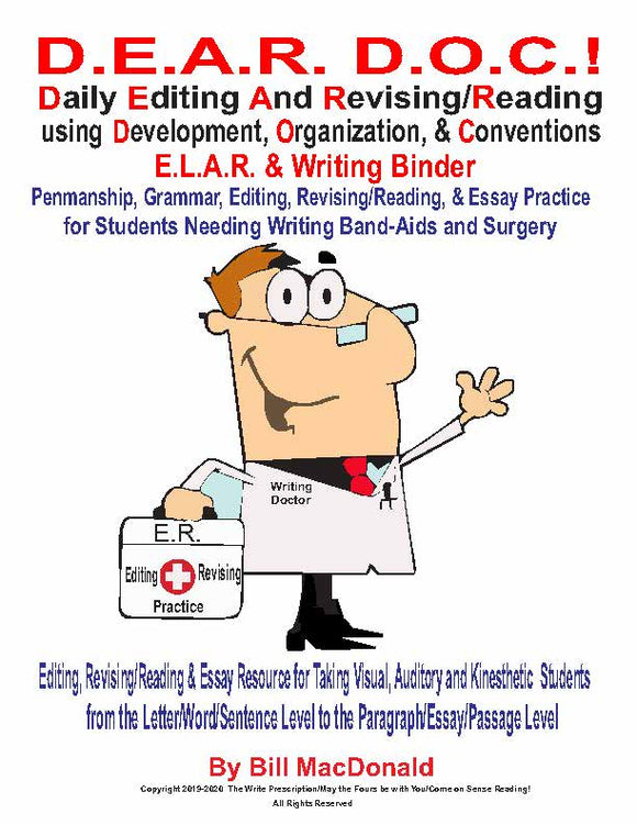 DEAR DOC ADVANCED 2021-2022 ELAR & WRITING BINDER (HARD COPY SENT BY USPS)