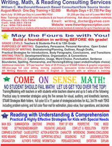 WRITING, MATH, & READING TRAININGS FOR TEACHERS OR STUDENTS WHILE TEACHERS OBSERVE