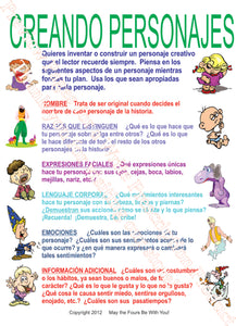 Creando Personajes Spanish Writing Poster
