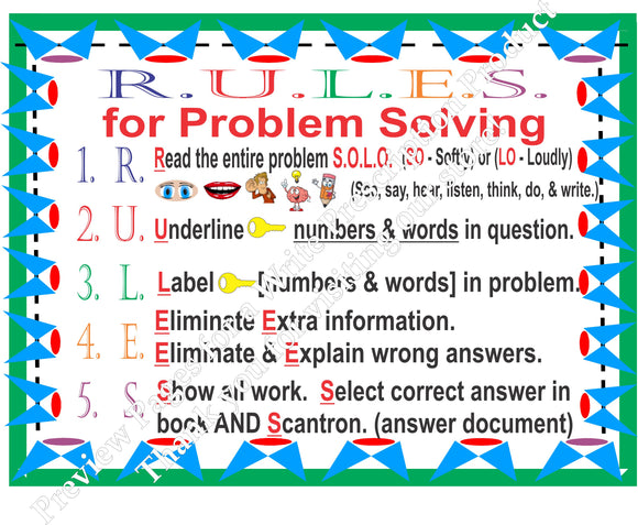 STAAR Problem Solving & Place Value Mathematics Charts (3rd Grade & Lower)