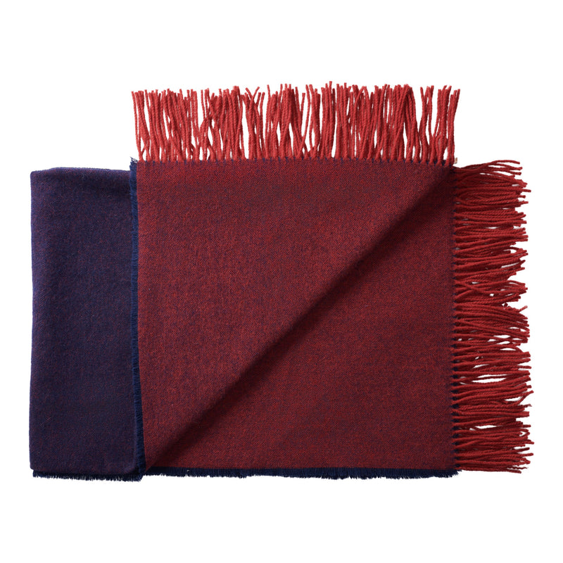 Silkeborg Uldspinderi ApS Franja Throw 170x140 cm Throw 1226 - Burgundy Blue