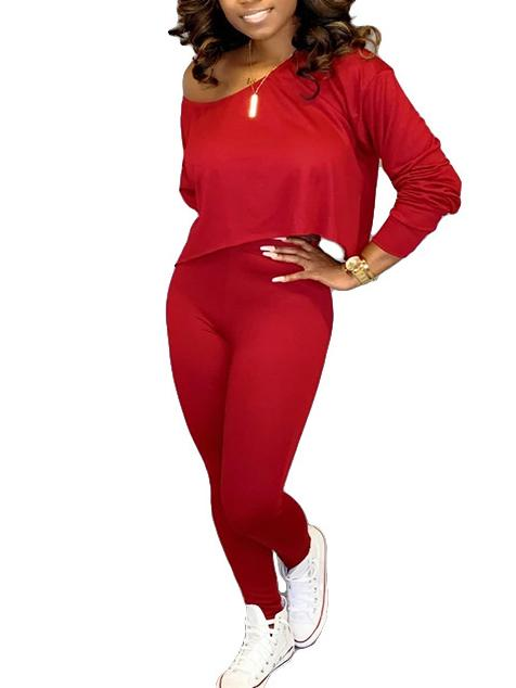 Women's 2 Piece Outfits Sets Long Sleeve Tops + Pants