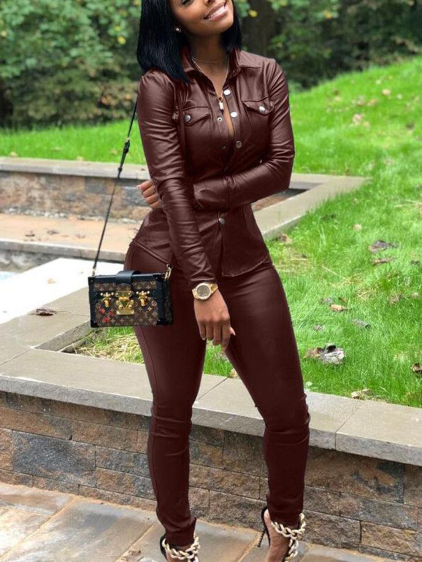 Women 2 Piece Outfits Long Sleeve PU Leather Jacket Top and Bodycon Pants Suits