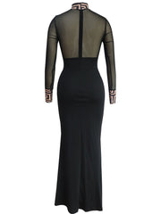 Women's Long Sleeve Side Split Sexy Bodycon Slim Skinny Turtleneck See Through Maxi Party Dress