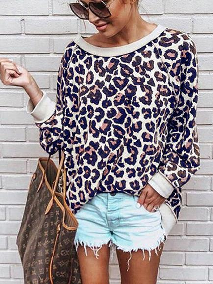 Women's Long Sleeve Scoop Neck Leopard Printed Tops Sweatshirt