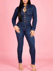 Women's Long Sleeve Bodycon Denim Jumpsuit