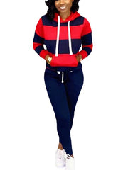 Women's Pullover Hoodie Sweatpants 2 Piece Sport Outfits Set