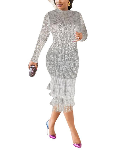 Women's Long Sleeve Scoop Neck Sequin Tassel Bodycon Midi Dress