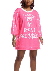 Women's Long Sleeve Scoop Neck Letter Printed Sequin Mini Party Dress