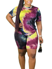 Women's 2 Piece Outfits Sets Tie-dye Short Sleeve Tops + Shorts
