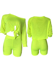 Women's 2 Piece Outfits Sets Short Sleeve Off Shoulder Crop Tops + Shorts