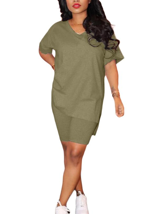 Women's 2 Piece Outfits Sets Short Sleeve V-neck Tops + Shorts