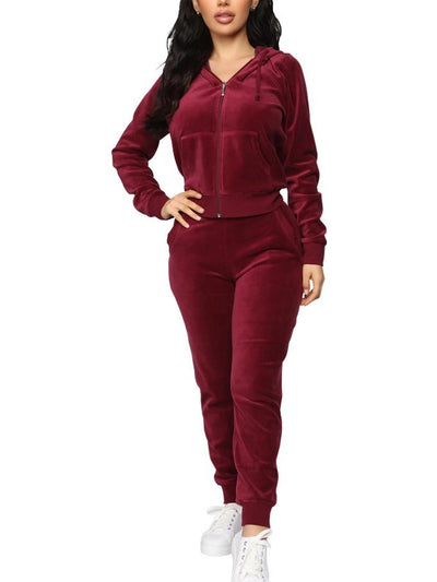 Womens 2 Piece Sweatsuits Velour Pullover Hoodie & Sweatpants Jogging Suits Outfits Tracksuit Sets