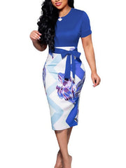 Women's Short Sleeve Scoop Neck Patchwork Bodycon Midi Dress