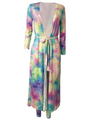Women's 2 Piece Outfits Sets Tie-dye Cardigan Cover-Up + Pants