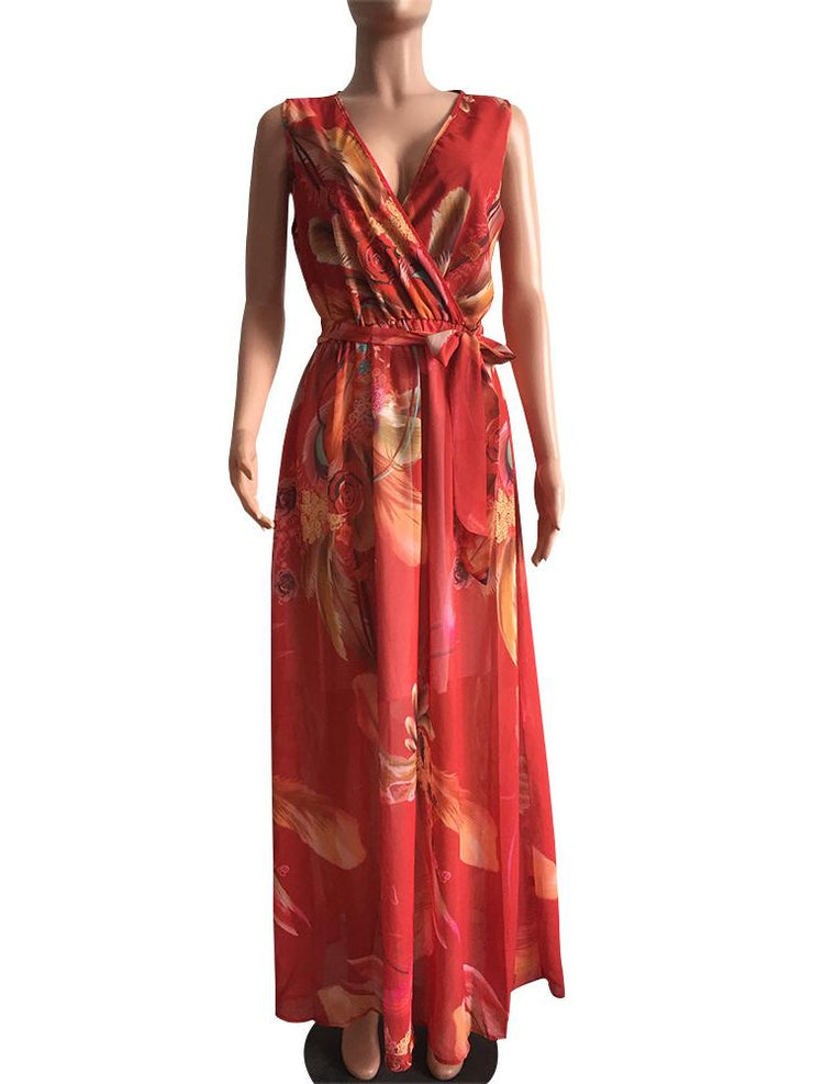 Women's Bohemian Style Floral Printed Sleeveless V-neck Maxi Dress