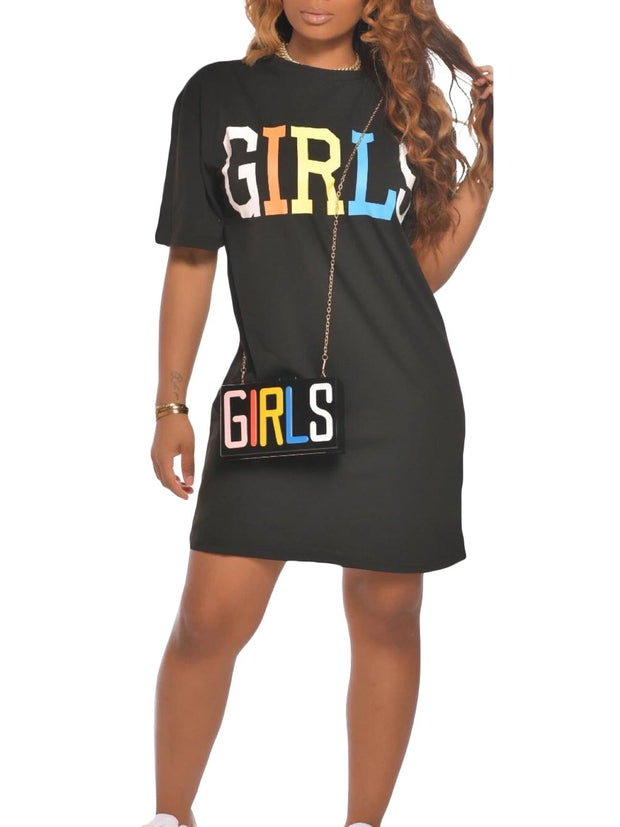 Women's Short Sleeve Scoop Neck Letter Printed Mini Dress