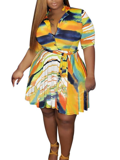 Women's Short Sleeve V-neck Tie-dye Mini Dress With Belt