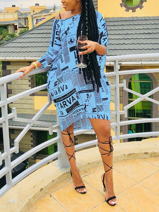 Women's Long Sleeve Scoop Neck Printed Mini Dress