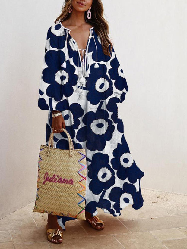 Women's Bohemian Style Floral Printed Long Sleeve V-neck Maxi Dress