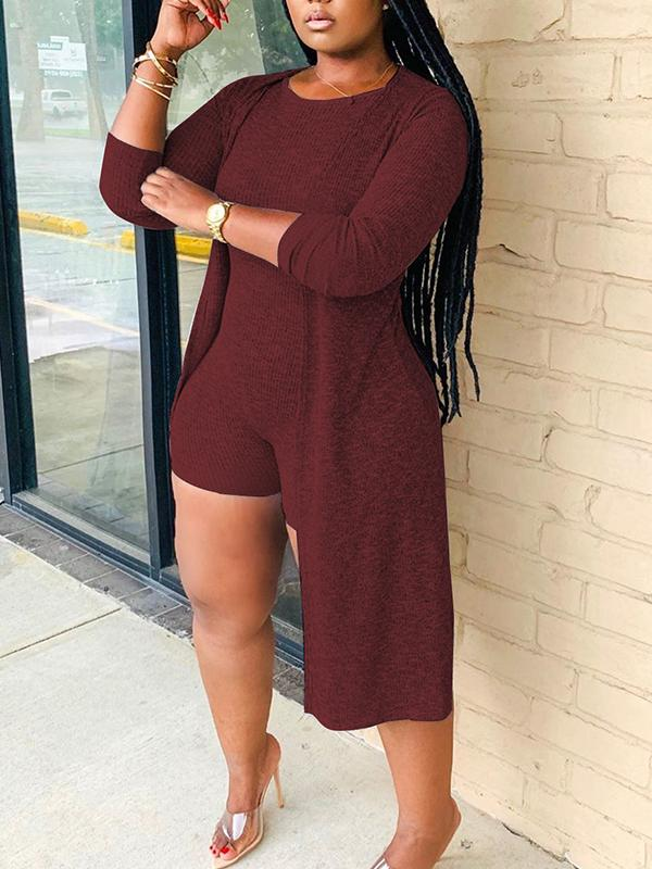 Solid Color Casual Romper & Cardigan