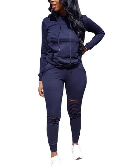 Hole Distressed Plus Size Hooded Collar Top & Pants