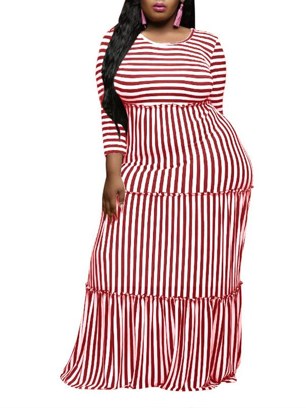 Women Printed Striped Printed Long Sleeve Scoop Neck Maxi Dress