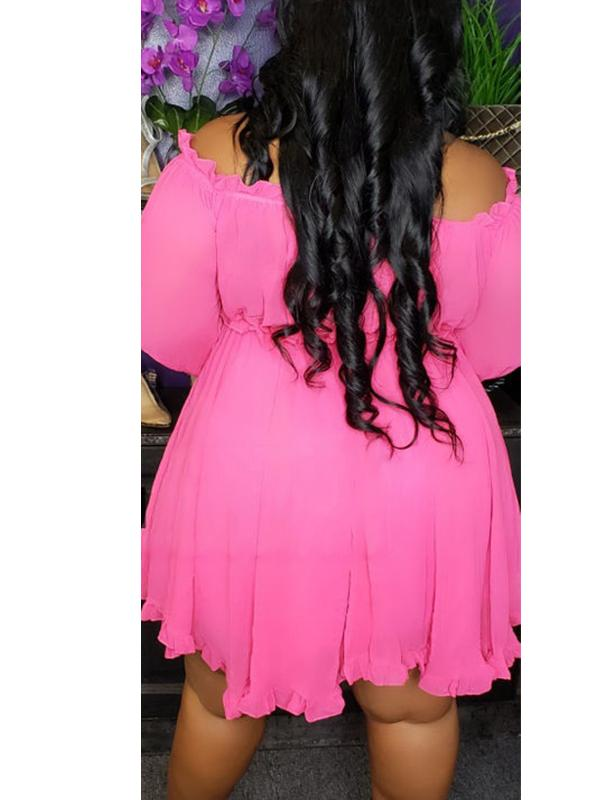 Womens Long Sleeve Off-shoulder Ruffle Sleeve Mini Dress