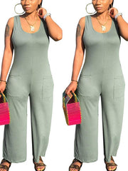 Women Sexy Scoop Neck Legs Casual Pants jumpsuit
