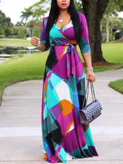 Women 3/4 Sleeve V-neck Graphic Printed Maxi Dress