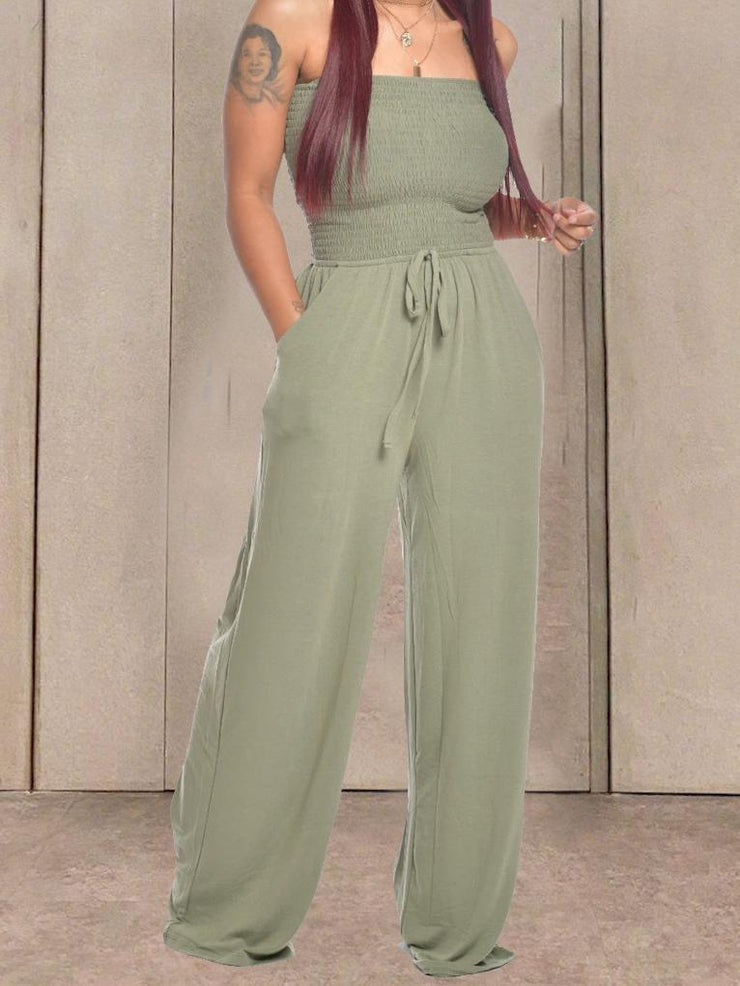 Women Sleeveless Tube Top Wide Leg Casual Pants High Waist Jumpsuit