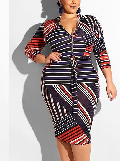 Women Long Sleeve V-neck Zipper Irregular Graphic Printed Midi Dress