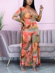 Women Long Sleeve Tie-dye Sling Jumpsuit and Coat Two Piece Sets
