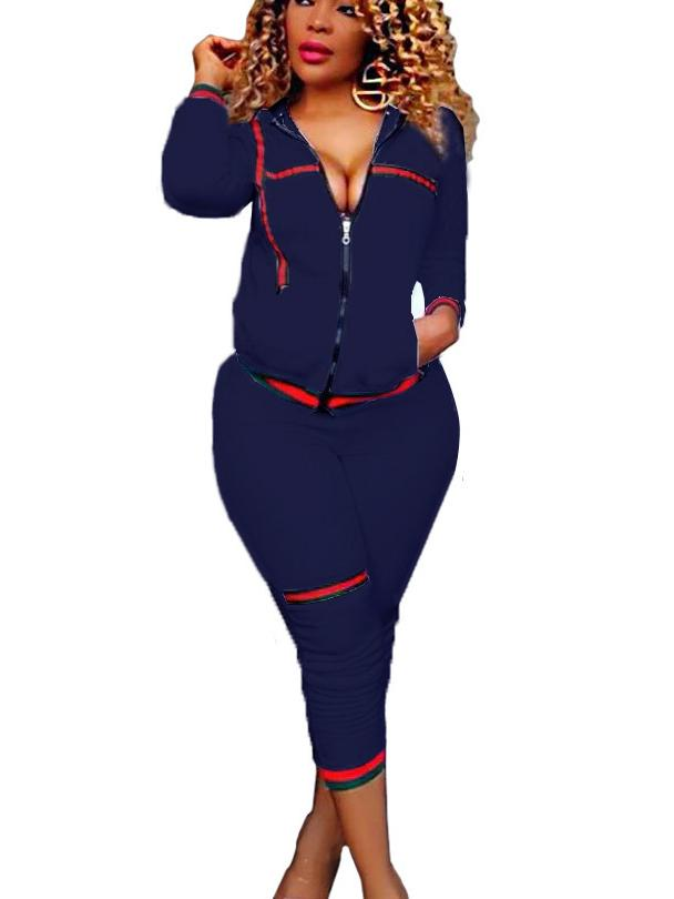 Women Shirt Collar Long Sleeve Zip Cardigan Sports Sets