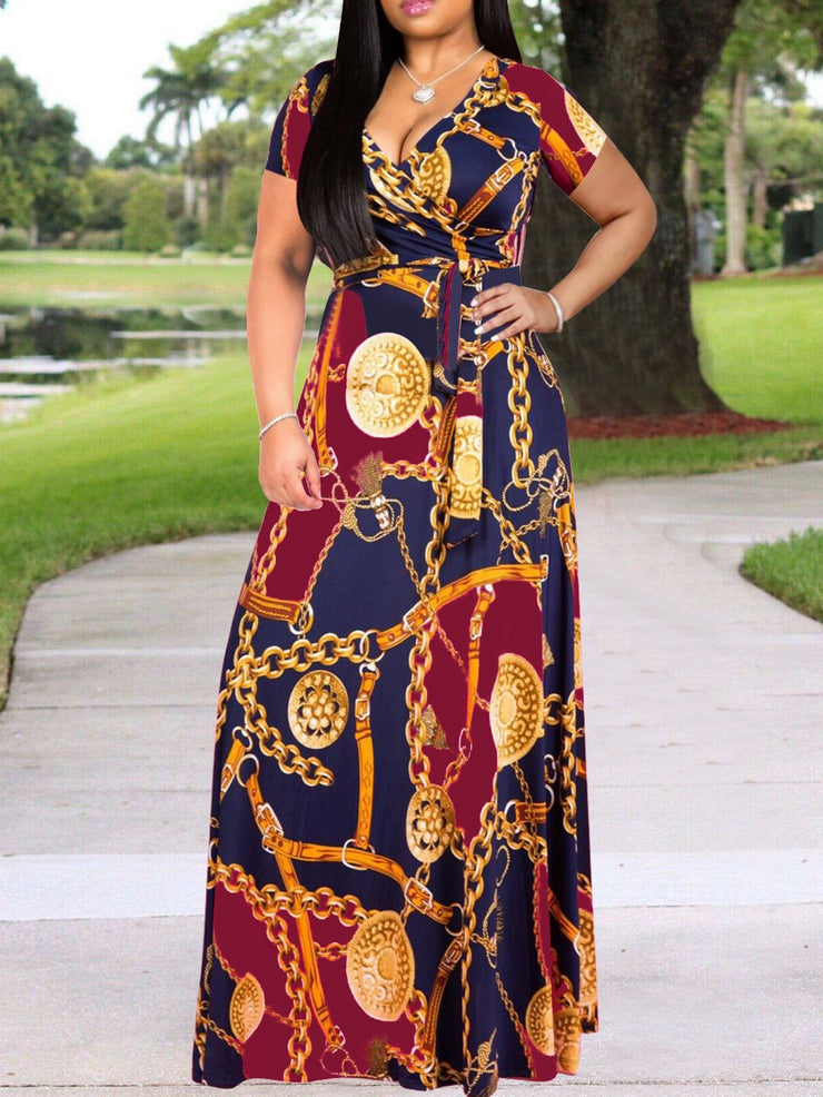 Women Short Sleeve V-neck Printed Maxi Dress with Belt