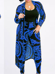 Women Long Sleeve Graphic Printed Cardigan and Pant Sets