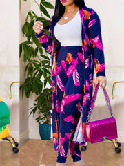 Women Long Sleeve Floral Printed Cardigan and Pant Sets