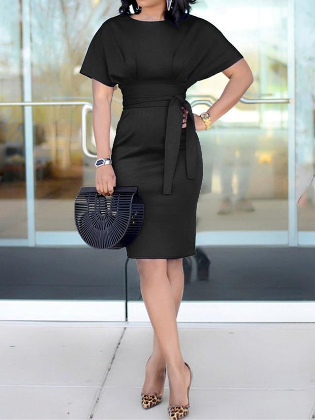 Bandage Solid Color Short Sleeve Dress