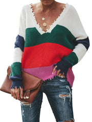 V-Neck Rainbow Striped Edge Distressed Casual Knitted Sweater
