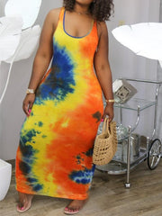 Scoop Neck Tie Dye Sleeveless Maxi Dress
