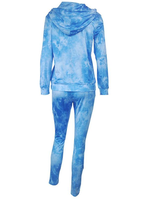 Women Long Sleeve Hooded Gradient Top with Pants Sets