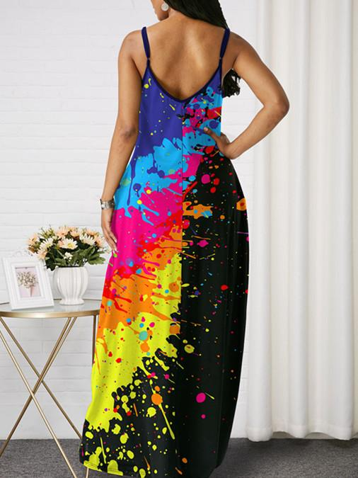 Women Sleeveless V-neck Floral Printed Gradient Maxi Dress