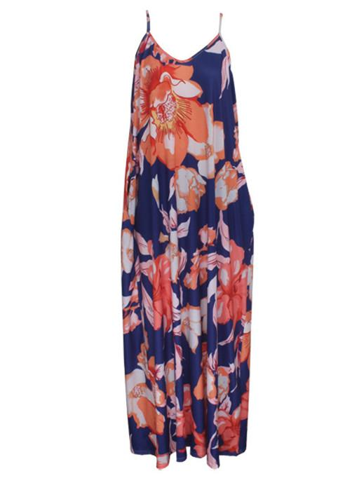 Women Sleeveless V-neck Floral Printed Striped Maxi Dress