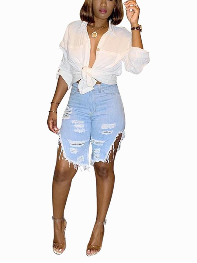 Women Ripped Classic Denim Short Jeans Pants