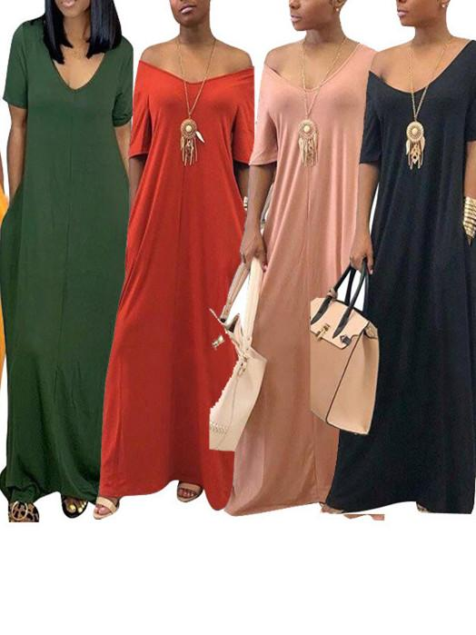 Women Short Sleeve Scoop Neck Solid Maxi Dress With Pockets
