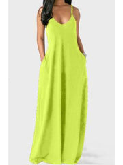 Women Sleeveless V-neck Solid Printed Basic Maxi Dress